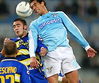 Roma 14/1/2004 - Coppa Italia<br />Lazio Parma 2-0<br />Bernardo Corradi (Lazio) e Paolo Cannavaro (Parma)<br />Foto Andrea Staccioli Graffiti