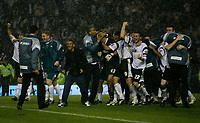 Photo: Steve Bond.<br /> Derby County v Southampton. Coca Cola Championship. Play Off Semi Final, 2nd Leg. 15/05/2007. Derby County celebrate in the torrential rain