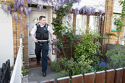 © Licensed to London News Pictures . 20/04/2017 . London , UK . A visiting policeman leaves the home of Jeremy Corbyn in Finsbury Park , this morning (20th April 2017) . Jeremy Corbyn is the current leader of the Labour Party . Photo credit: Joel Goodman/LNP