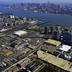 Aerial of Jersey City and Holland Tunnel view towards east towards manhattan, and empire state building