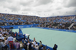 June 24, 2017 - London, England, United Kingdom - The Centre Court gets covered before the semi final of AEGON Championships at Queen's Club, London, on June 24, 2017. (Credit Image: © Alberto Pezzali/NurPhoto via ZUMA Press)