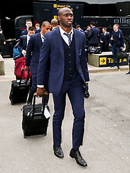 Manchester City's Eliaquim Mangala arrives at Manchester Airport to board the team flight to Barcelona ahead of the UEFA Champions League second leg match against Barcelona - Photo mandatory by-line: Matt McNulty/JMP - Mobile: 07966 386802 - 17/03/2015 - SPORT - Football - Manchester - Manchester Airport - Barcelona v Manchester City - UEFA Champions League