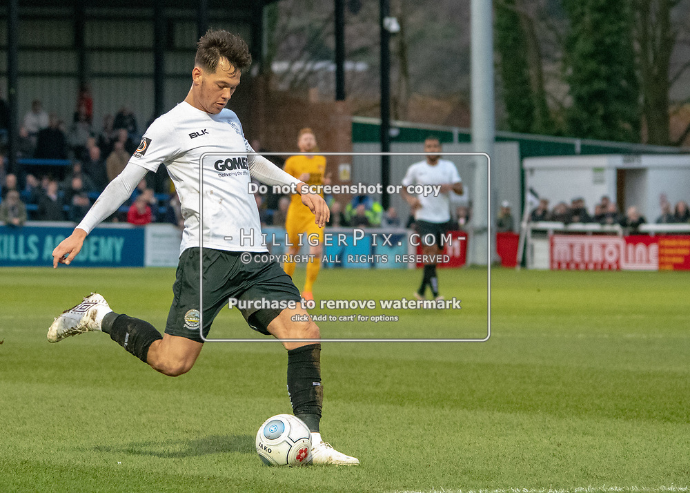 DOVER, UK - DECEMBER 29: Alfie Pavey of Dover Athletic takes a shot during the Vanarama National League match between Dover Athletic and Leyton Orient at the Crabble Stadium on December 29, 2018 in Dover, UK. (Photo by Jon Hilliger)