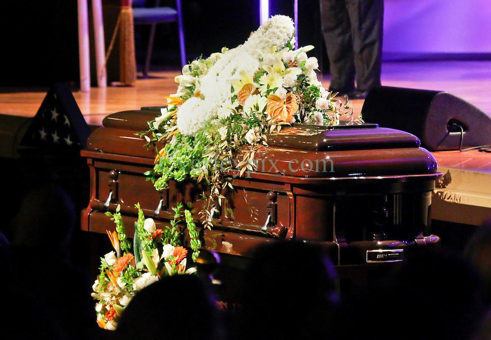 20 November 2015. Orpheum Theater, New Orleans, Louisiana. <br /> Memorial service for musician Allen Toussaint. <br /> Mr Toussaint's casket.<br /> Photo; Charlie Varley/varleypix.com