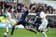 Tottenham's Jan Vertonghen shoots and scores his sides 1st goal. Barclays Premier League, Swansea city v Tottenham Hotspur at the Liberty Stadium in Swansea, South Wales on Saturday 30th March 2013. pic by Andrew Orchard, Andrew Orchard sports photography,