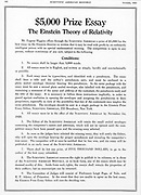 Prize offered in Scientific American, New York, October, 1920, for an essay on Einstein's theory of relativity. Einstein was travelling in the United States at thgis time