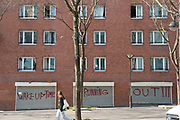 """April, 20th 2020 - Paris, Ile-de-France, France: Running Out Of Time Grafitti during the spread of the Coronavirus, during the first month of near total lockdown imposed in France. A week after President of France, Emmanuel Macron, said the citizens must stay at home for at least 15 days, that has been extended. He said """"We are at war, a public health war, certainly but we are at war, against an invisible and elusive enemy"""". All journeys outside the home unless justified for essential professional or health reasons are outlawed. Anyone flouting the new regulations is fined. Nigel Dickinson"""