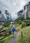 Lauterbrunnen village is in the canton of Bern, Switzerland, the Alps, Europe. For licensing options, please inquire.