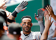 Baltimore Orioles' Jonathan Villar celebrates his solo home run in the first inning of a baseball game against the Kansas City Royals at Kauffman Stadium in Kansas City, Mo., Sunday, Sept. 2, 2018. (AP Photo/Colin E. Braley)