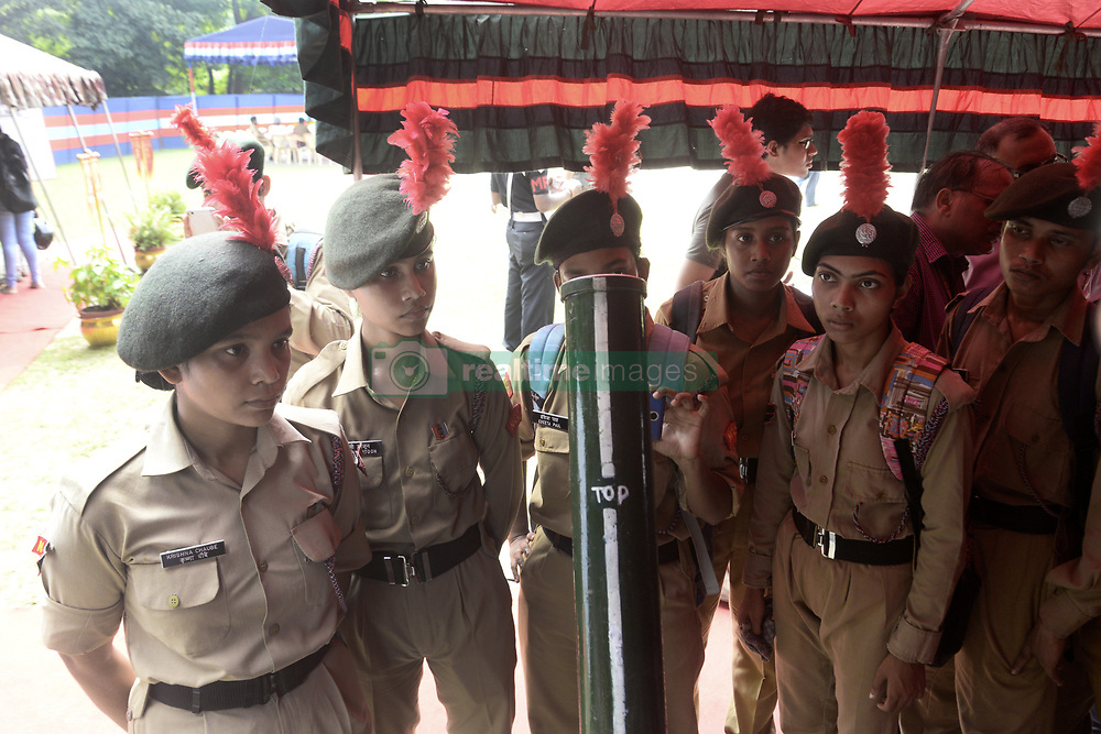 September 29, 2018 - Kolkata, West Bengal, India - National Cadet Corps or NCC cadets experience Army weapons at the exhibition organized by Indian Army on the occasion of Parakram Parv celebration. Indian army display army weapons and equipment to create awareness among the local populace about courage of Indian Army on the occasion of Parakram Parv celebration. (Credit Image: © Saikat Paul/Pacific Press via ZUMA Wire)