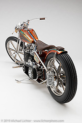 """""""'Game Changer"""", A Gas Axe Custom Chopper, built from a 93"""" S&S Shovelhead, by Tim Dixon, in  Ten Mile, TN.  Photographed by Michael Lichter in Sturgis, SD on 8/2/18. ©2018 Michael Lichter."""