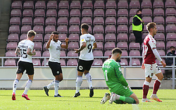 Nathan Thompson of Peterborough United celebrates scoring the opening goal against Northampton Town - Mandatory by-line: Joe Dent/JMP - 10/10/2020 - FOOTBALL - PTS Academy Stadium - Northampton, England - Northampton Town v Peterborough United - Sky Bet League One