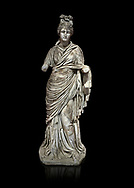 Roman statue of a woman. Marble. Perge. 2nd century AD. Inv no 2015/186. Antalya Archaeology Museum; Turkey. Against a black background. .<br /> <br /> If you prefer to buy from our ALAMY STOCK LIBRARY page at https://www.alamy.com/portfolio/paul-williams-funkystock/greco-roman-sculptures.html . Type -    Antalya     - into LOWER SEARCH WITHIN GALLERY box - Refine search by adding a subject, place, background colour, museum etc.<br /> <br /> Visit our ROMAN WORLD PHOTO COLLECTIONS for more photos to download or buy as wall art prints https://funkystock.photoshelter.com/gallery-collection/The-Romans-Art-Artefacts-Antiquities-Historic-Sites-Pictures-Images/C0000r2uLJJo9_s0