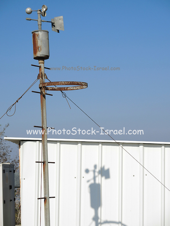 Anemometer on weather station measuring wind speed for climate change trends and forecasting