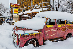 Snow is an accent that can make old things shine.  Old panel truck, Swan Valley Idaho