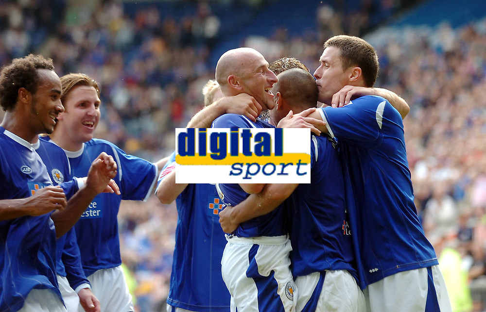 Photo: Kevin Poolman.<br />Leicester City v Southend United. Coca Cola Championship. 26/08/2006. Leicester players celebrate Patrick Kisnorbo's (2nd from the right) goal.