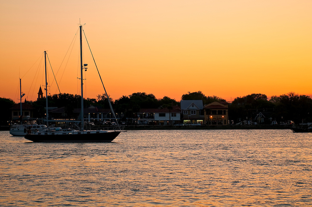 View of downtown St. Augustine from the bay at sunset