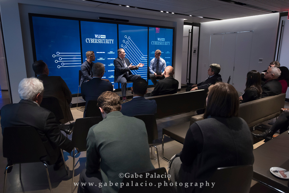 The WSJpro Cybersecurity event featuring Rob Sloan, Moderator, with Patrick Coughlin, COO TruStar, and John Felker, Director, National Cybersecurity and Communications Integration Center, U.S. Department of Homeland Security in New York City on December 12, 2017. (photo by Gabe Palacio)