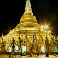 praying at Shedagon pagoda