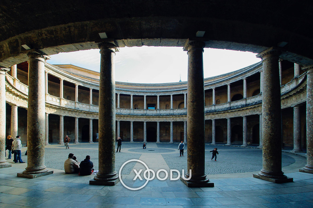 Palace Charles V column circular courtyard, Granada, Spain (December 2006)
