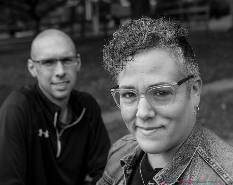 Campaign 2020 - voter profiles - Jena Brodhead and her husband Brian Brodhead pose at their home in Hellertown, Pa. on Saturday, October 10, 2020.
