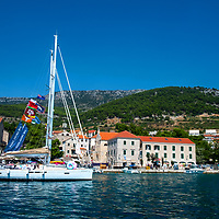 Croatia 2019;<br />View of Harbour from the sea of yachts;<br /> Bol, Brac;<br /> August 18th - 30th August 2019.<br /> <br /> @ Pete Jones<br /> pete@pjproductions.co.uk