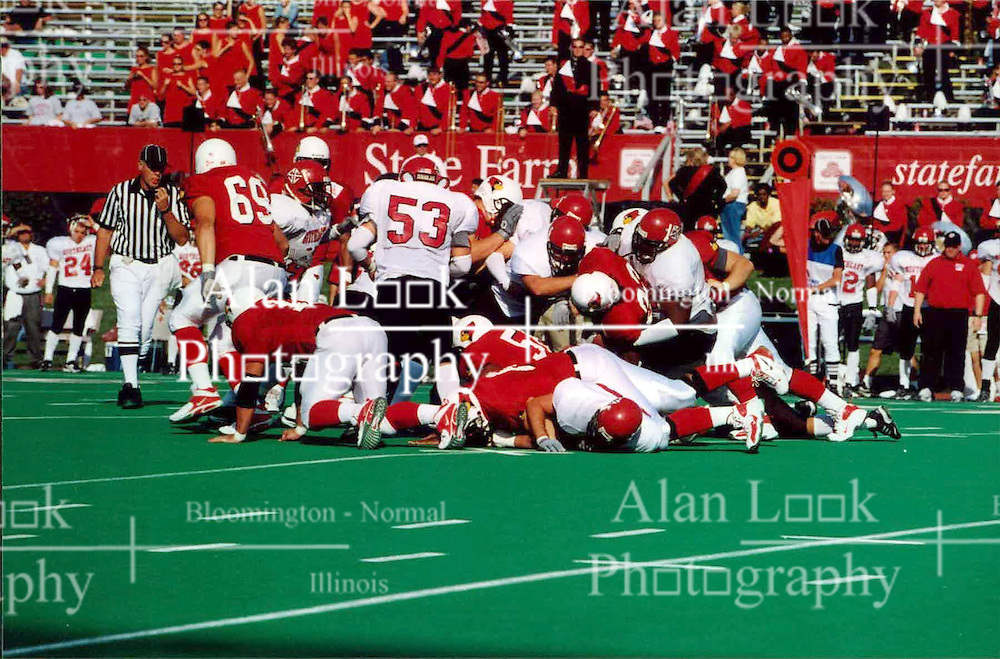 September 22, 2001:  Illinois State Redbirds Football, Willie Watts gets tackled..This image was scanned from a print.  Image quality may vary.  Dust and other unwanted artifacts may exist.