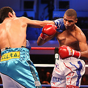 Luis Carlos Abregu knocks down Thomas Dulorme during their fight for the WBC International title during the HBO Triple Explosion fight at the Turning Stone Resort Casino in Verona, NY, on Saturday, Oct 27, 2012.  Abregu won the bout by TKO in the 7th round. (AP Photo/Alex Menendez)