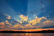 Crepuscular rays (God rays) on Star Lake<br />Whiteshell Provincial Park<br />Manitoba<br />Canada