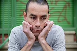 Portrait of man looking depressed,