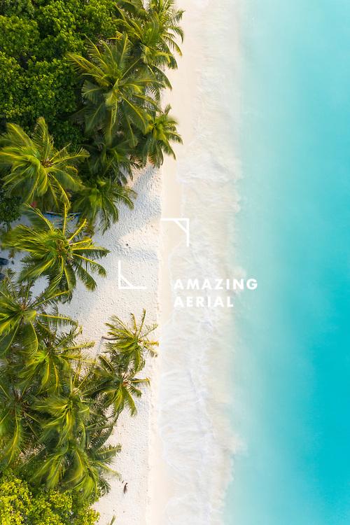 Aerial view of a beach with breaking waves, Vashafaru, Maldives.