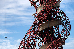 An abseiler goes down off the ArcelorMittal Orbit in the Queen Elizabeth Olympic Park