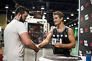 LAS VEGAS, NV - JULY 10:  Sage Northcutt visits with a fan during UFC Fan Expo Day 3 at the Las Vegas Convention Center on July 10, 2016 in Las Vegas, Nevada. (Photo by Cooper Neill/Zuffa LLC/Zuffa LLC via Getty Images) *** Local Caption *** Sage Northcutt