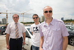 Igor Dolenc, Zoran Martic, Jure Zdovc of KK Union Olimpija at open door day 1 year before opening of new football stadium and sports hall in Stozice,  on June 30, 2009, at Stadium Stozice, Ljubljana, Slovenia. (Photo by Vid Ponikvar / Sportida)