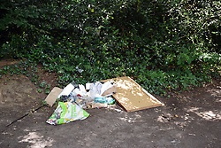 Fly tipping in Epping Forest, East London UK 2020