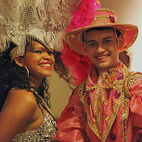 South America, Brazil, Amazon River.Entertainers on Iberostar Grand Amazon.