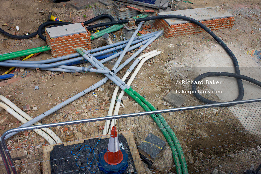 Aerial view of roadwork cable sleeves and misc materials at Elephant & Castle, Southwark, london.