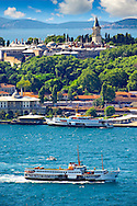 The Topkapi Palace on Sarayburnu or Seraglio Point with a ferry and the banks of the Golden Horn in the foreground, Istanbul Turkey. .<br /> <br /> If you prefer to buy from our ALAMY PHOTO LIBRARY  Collection visit : https://www.alamy.com/portfolio/paul-williams-funkystock/istanbul.html<br /> <br /> Visit our TURKEY PHOTO COLLECTIONS for more photos to download or buy as wall art prints https://funkystock.photoshelter.com/gallery-collection/3f-Pictures-of-Turkey-Turkey-Photos-Images-Fotos/C0000U.hJWkZxAbg