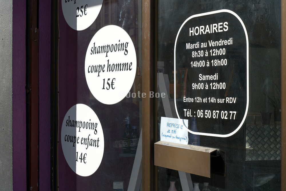 hair salon closed during the Covid 19 crisis and lockdown France Limoux April 2020
