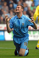 Photo: Ed Godden.<br />Coventry City v Leeds United. Coca Cola Championship. 16/09/2006. Coventry's Kevin Kyle misses a chance on goal.