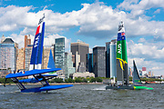 SailGP Team France come close to capsizing. race one. Race Day 1 Event 3 Season 1 SailGP event in New York City, New York, United States. 21 June 2019. Photo: Chris Cameron for SailGP. Handout image supplied by SailGP