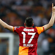 Galatasaray's Burak Yilmaz celebrate his goal during their Turkish superleague soccer derby match Galatasaray between Trabzonspor at the AliSamiYen spor kompleksi TT Arena in Istanbul Turkey on Saturday, 18 May 2013. Photo by Aykut AKICI/TURKPIX
