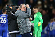 Cardiff city manager Neil Warnock celebrates at the end of the game. EFL Skybet championship match, Cardiff city v Aston Villa at the Cardiff City Stadium in Cardiff, South Wales on Monday 2nd January 2017.<br /> pic by Andrew Orchard, Andrew Orchard sports photography.