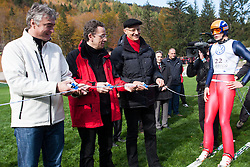 Milan Zver, candidate for Slovenian president elections, Ziga Turk, Minister for Education, Science, Culture and Sports, Igor Luksic  president of political SD partie and Ales Hlebanja one of first ski jumpers  during Slovenian summer national championship and opening of the reconstructed Bloudek's hill in Planica on October 14, 2012 in Planica, Ratece, Slovenia. (Photo by Grega Valancic / Sportida)
