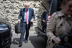 © Licensed to London News Pictures. 10/07/2019. London, UK. BORIS JOHNSON MP is seen arriving at an address in Westminster, London. The frontrunner to be the next PM has been criticised for not backing the outgoing British Ambassador to the USA Sir Kim Darroch. Photo credit: Ben Cawthra/LNP