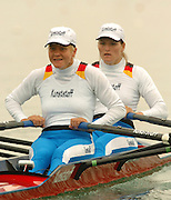 FISA World Cup Rowing Munich Germany..27/05/2004..Thursday morning opening heats...GER W2X. Bow. Christiane Huth and Kirsten El Qalqili-Kowalski. [Mandatory Credit: Peter Spurrier: Intersport Images].