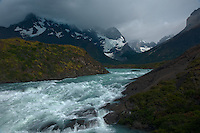 Glacial River and Stormy Weather in Patagonia. Torres del Paine National Park, Chile. Composite Image taken with a Nikon D3x and 16-35 mm f/4 lens (ISO 100, 34 mm, f/11, 1/125 sec).