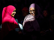 16 MARCH 2019 - BLOOMINGTON, MINNESOTA, USA: Muslim women at Dar al Farooq Center in Bloomington. An interdenominational crowd of about 1,000 people came to the center to protest white supremacy and religious intolerance and to support Muslims in New Zealand who were massacred by a white supremacist Friday. The Twin Cities has a large Muslim community following decades of Somali immigration to Minnesota. There are about 45,000 people of Somali descent in the Twin Cities.    PHOTO BY JACK KURTZ
