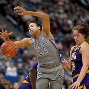 HARTFORD, CONNECTICUT- JANUARY 4: Napheesa Collier #24 of the Connecticut Huskies challenges for the ball with Kristen Gaffney #24 of the East Carolina Lady Pirates in action during the UConn Huskies Vs East Carolina Pirates, NCAA Women's Basketball game on January 4th, 2017 at the XL Center, Hartford, Connecticut. (Photo by Tim Clayton/Corbis via Getty Images)