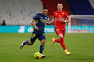 Ryann CHERKI of Lyon and Haris DULJEVIC of Nimes during the French championship Ligue 1 football match between Olympique Lyonnais and Nimes Olympique on September 18, 2020 at Groupama stadium in Decines-Charpieu near Lyon, France - Photo Romain Biard / Isports / ProSportsImages / DPPI